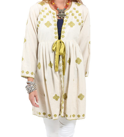 Henna Embroidered Jacket with Tie: Lime