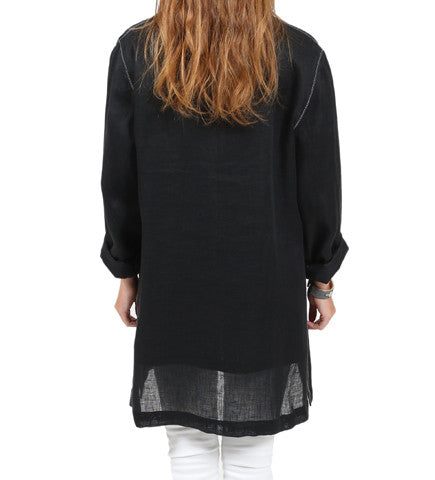 Moroccan Linen Jacket: Black