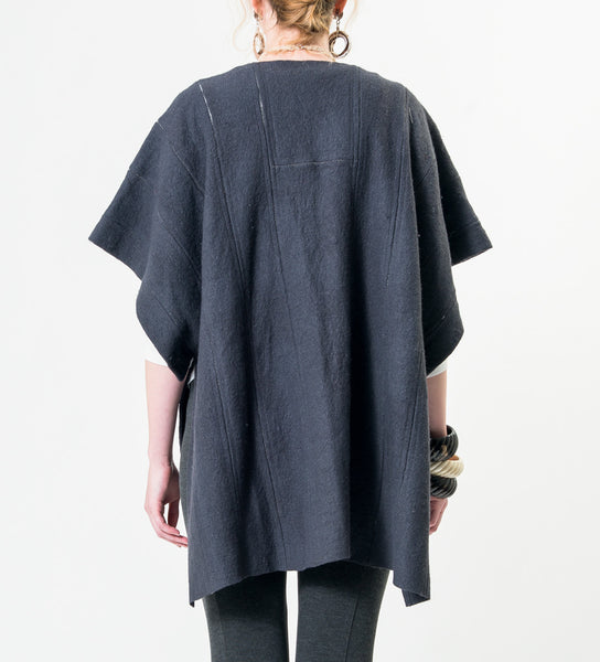 Wool Poncho: Grey