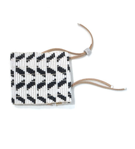 Extra Wide Chevron Warrior Bracelet: Black and White