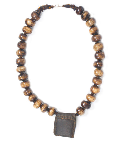 Ethiopian Leather Amulet and Bone Necklace