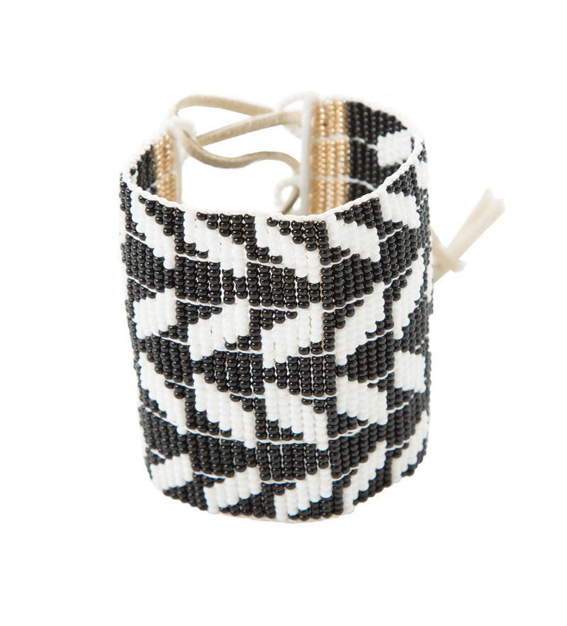 Extra Wide Chevron Warrior Bracelet: Black