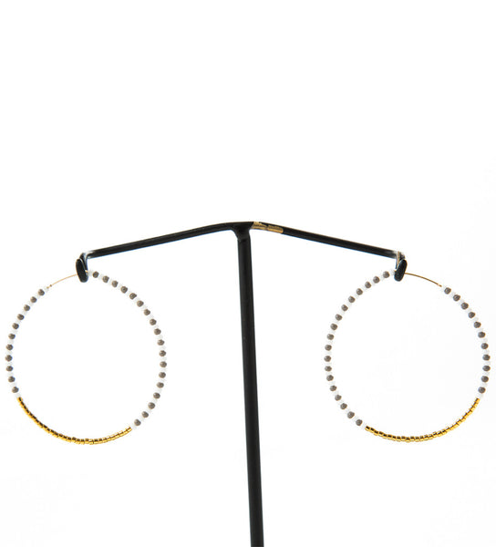 Large Zebra Hoop Earrings: Grey/White/Gold