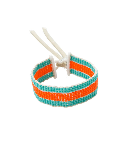Narrow Stripe Warrior Bracelet: Turquoise/Orange*