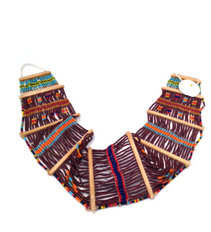 Konyak Tribe Glass Bead Belt: Dark Brown