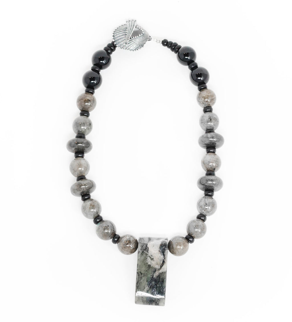 Jade, Labradorite, and Onyx Beaded Necklace