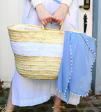 Wafae's Button Scarf: Periwinkle with White