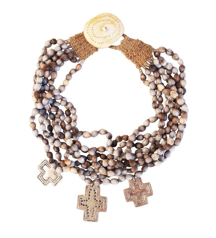 Job's Tears Necklace with Crosses