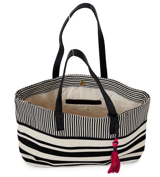 Juana Tote: Black/Natural Stripe