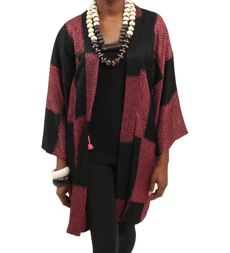 Strawberry and Black Checkered Kimono