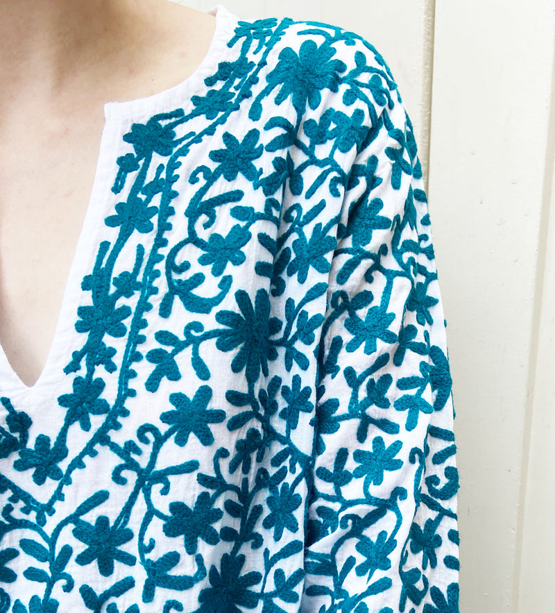 Kairavi Embroidered Tunic: Teal