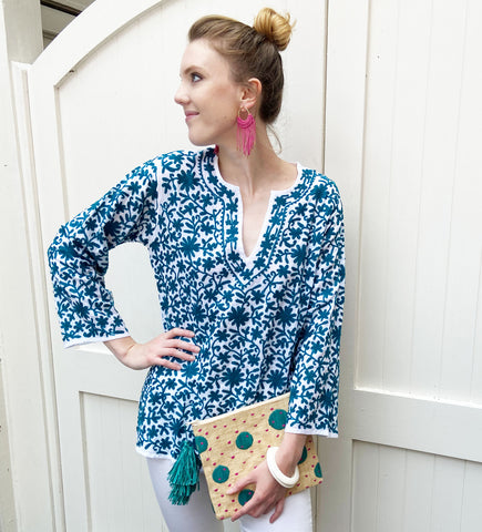 Deena Hand Embroidered Tunic: Cobalt