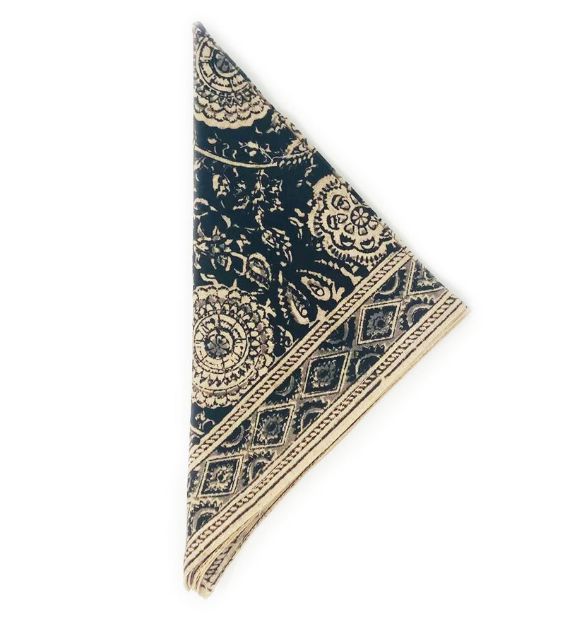 Kalamkari Napkin set of Four: Black