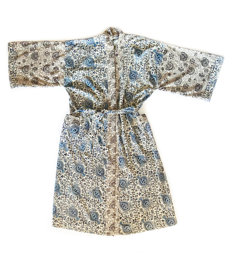 Kalamkari Block Printed Robe: Blue
