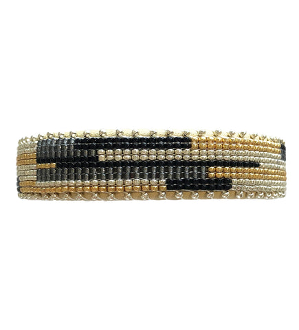 Set of Woven Round Bangles: Black and Natural