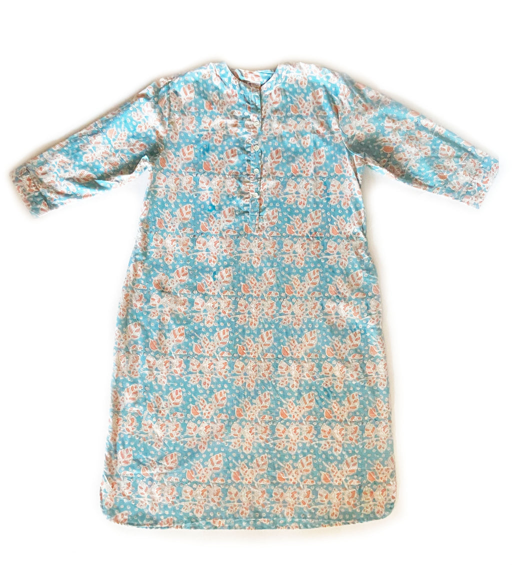 Kalika Block Print Dress: Turquoise