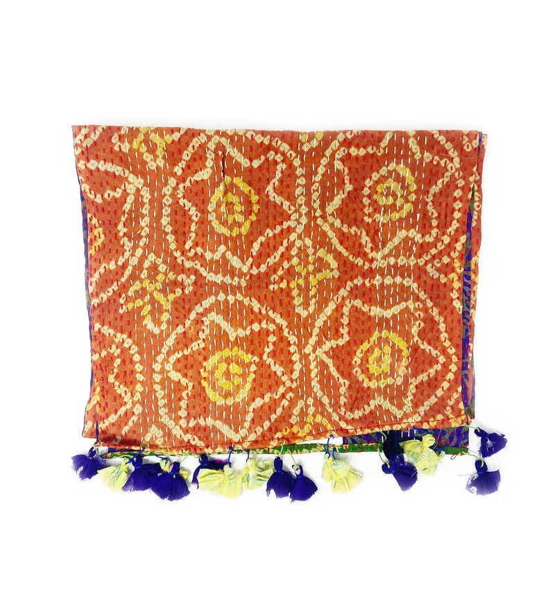 Kantha Recycled Silk Sari Scarf: Burnt Orange