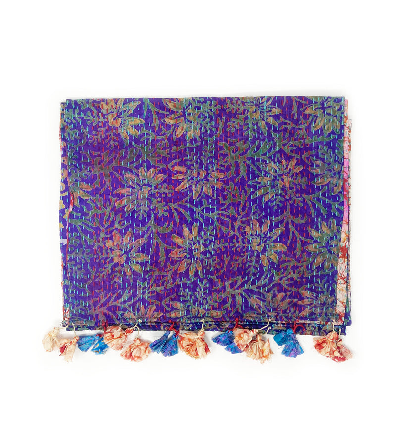 Kantha Recycled Silk Sari Scarf: Deep Purple