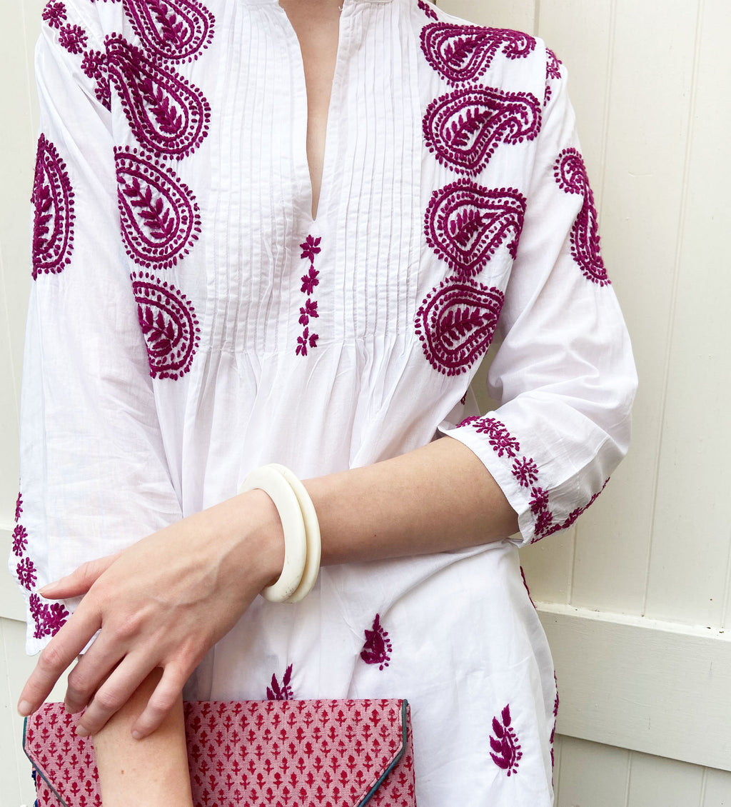 Karishma Embroidered Tunic: Orchid