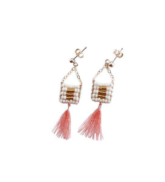 Kisongo Small Pendant Earring with Tassel: Blush