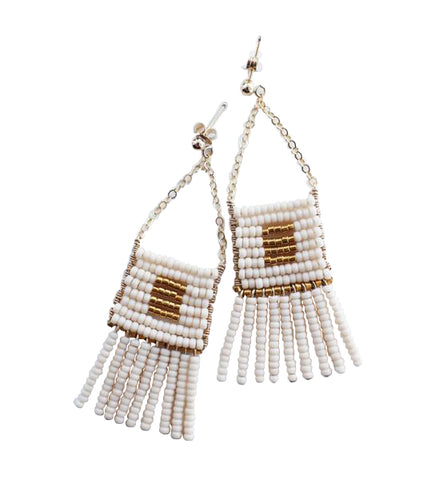 Kisongo Earring with Beaded Tassel: Blush