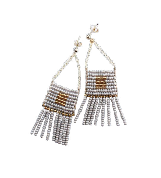 Kisongo Earring with Beaded Tassel: Taupe