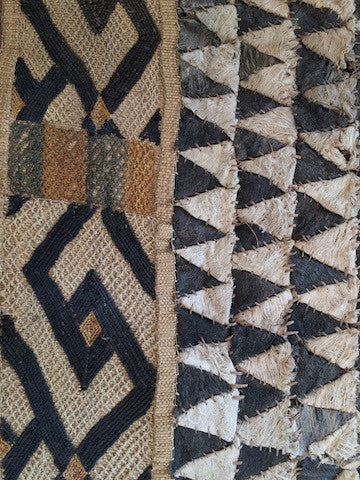 Mounted Vintage Men's Raffia Skirt from the Congo (formerly Zaire)