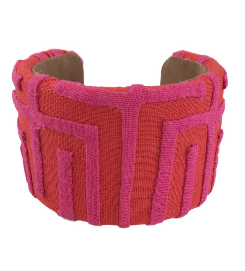 Kuna Bangle: Fuchsia and Red
