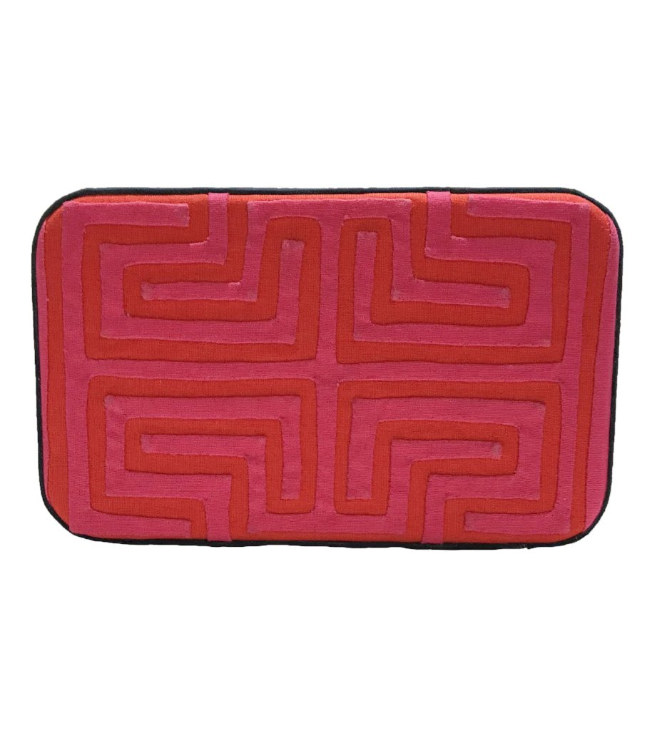 Kuna Box Clutch: Fuchsia