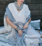 Silk Shibori Window Pane Shawl: Dove Grey/White