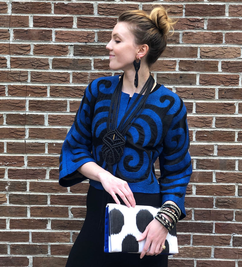 Kyrgyz Cropped Felted Jacket: Black and Electric Blue