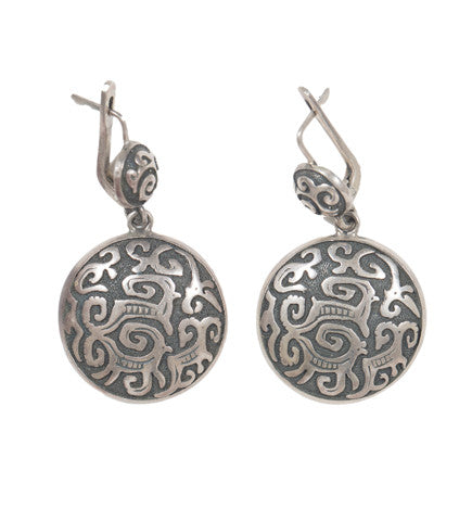 Kyrgyz Silver Decorative Drop Earring