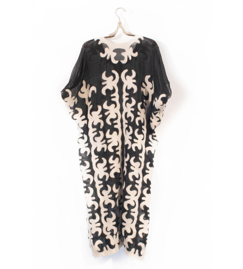 Kyrgyz Felted Tunic Dress: White on Black