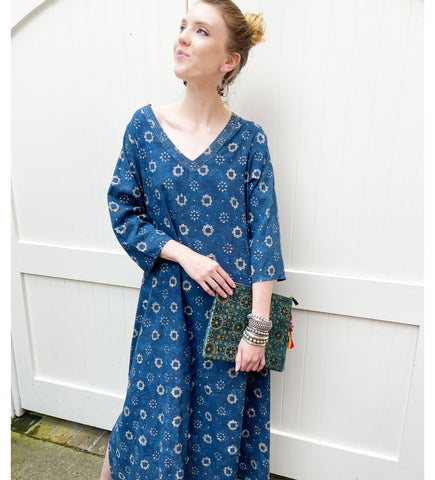 Block Printed Cotton Short Caftan: Blue Floral