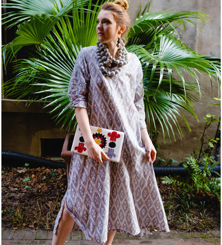 Sile Button Caftan: Light Grey
