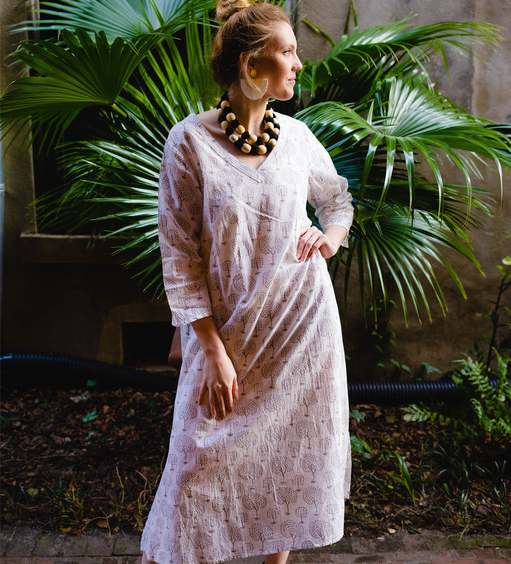 Lajita Cotton Caftan: Block Print Tree