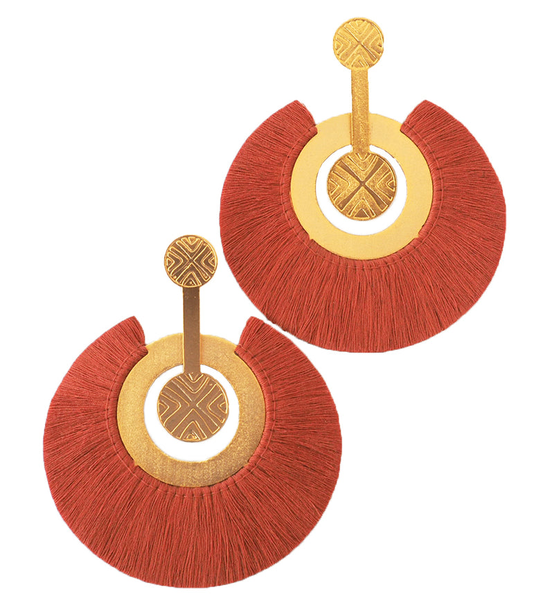 Large Fringe Drop Earring: Terracotta