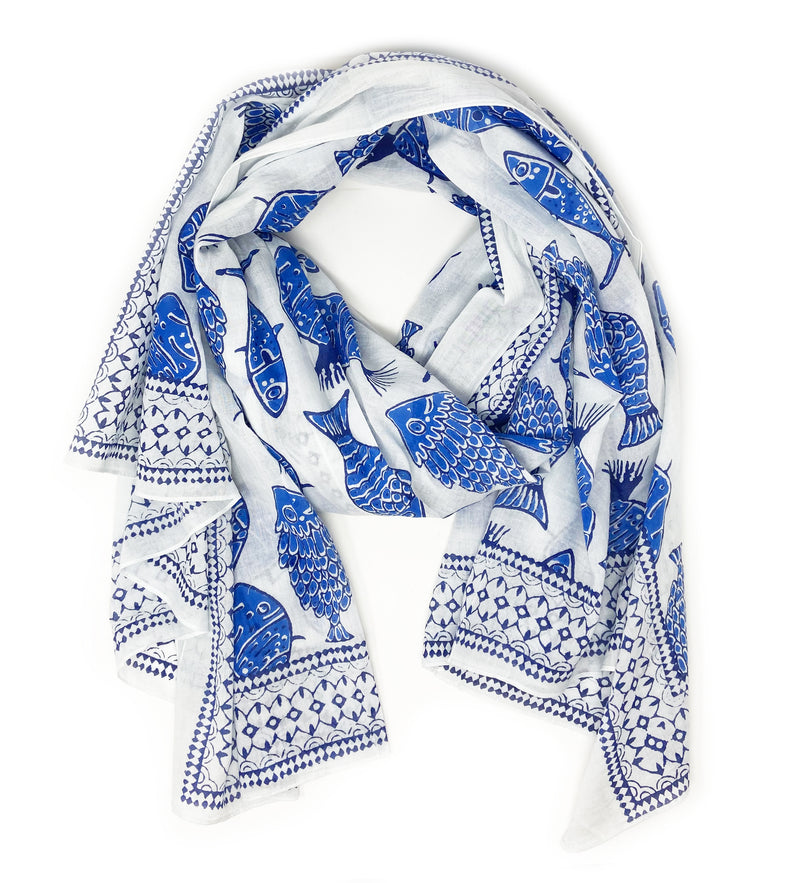 Lavani Scarf: Blue and White