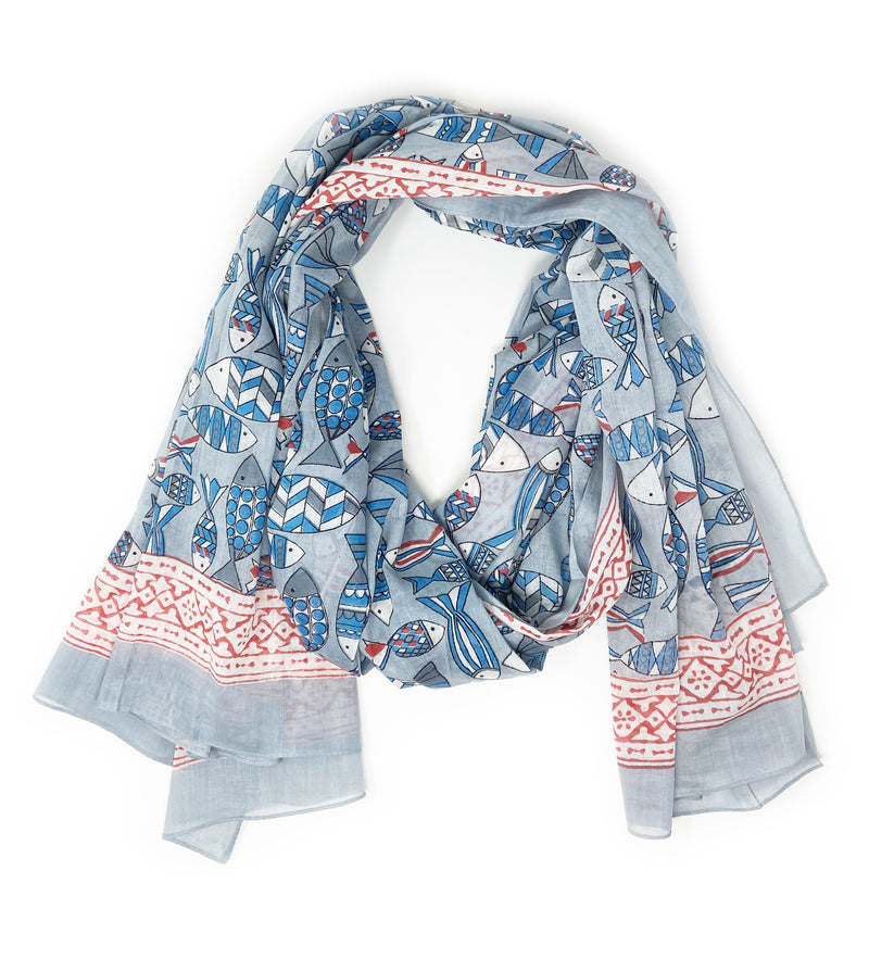Lavani Scarf: Indigo and Red