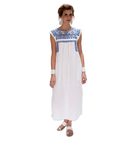 Layla Embroidered Dress: Blue and White