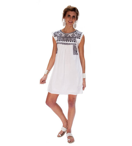 Layla Embroidered Short Dress: Black and White