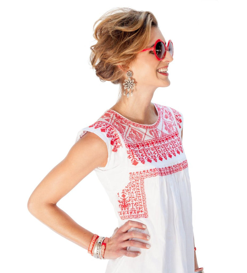 Layla Embroidered Short Dress: Red and White