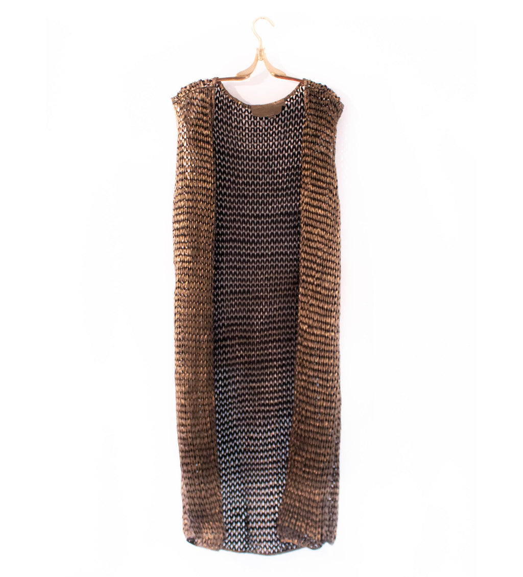 Leather Metallic Knit Vest