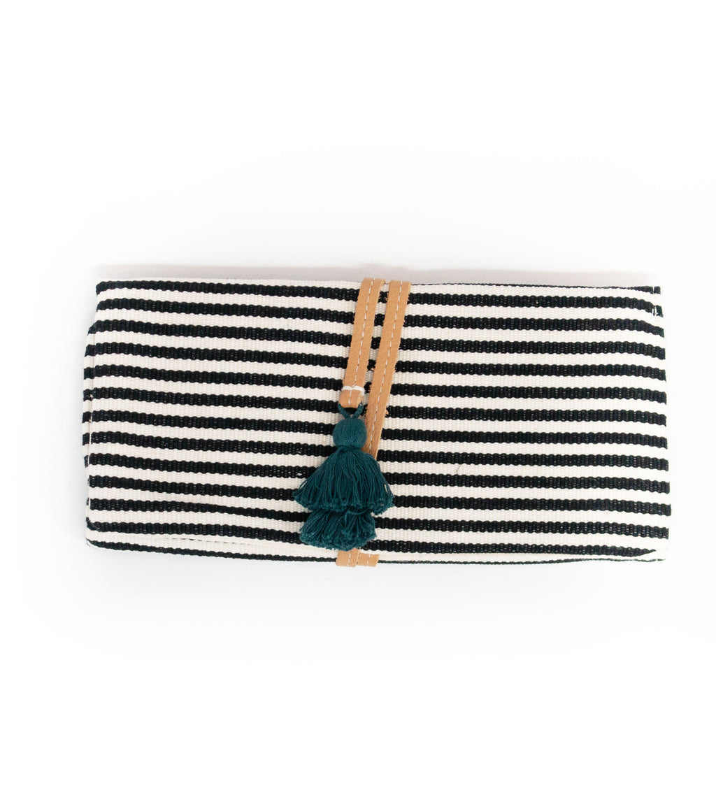 Lilia Jewelry Roll: Black Microstripe