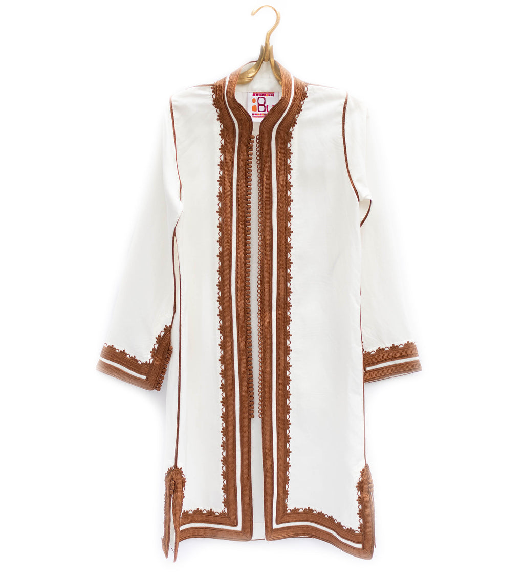 Linen Moroccan Jacket: White with Copper