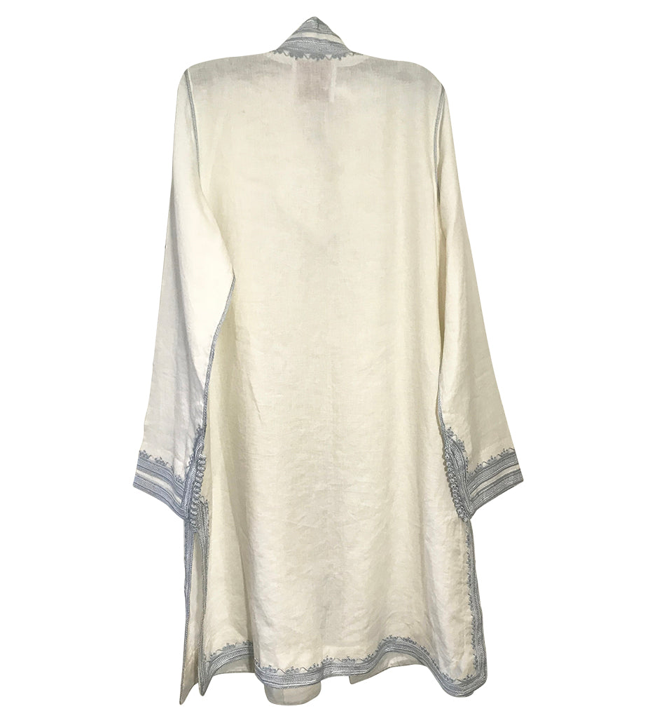 Linen Moroccan Jacket: Silver on White