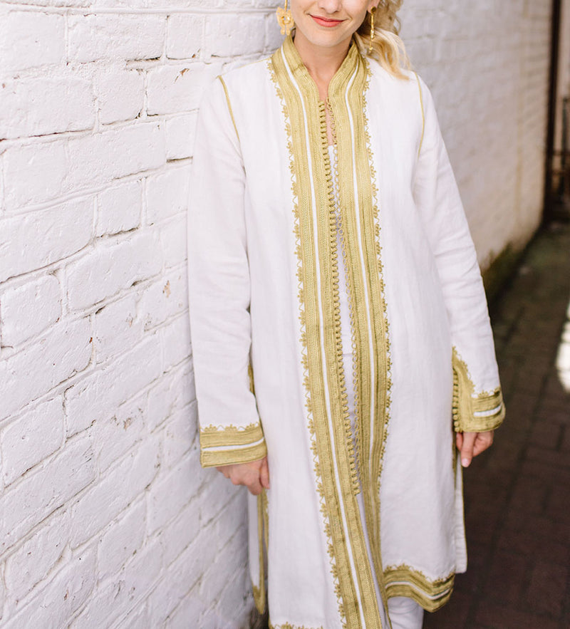 Linen Moroccan Jacket: White with Gold