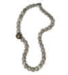 Short Grey Ball Necklace with Large Yemen Bead