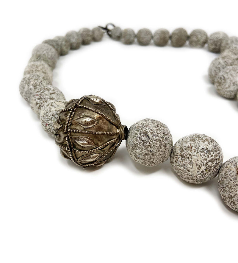 Long Grey Ball Necklace with Large Yemen Bead