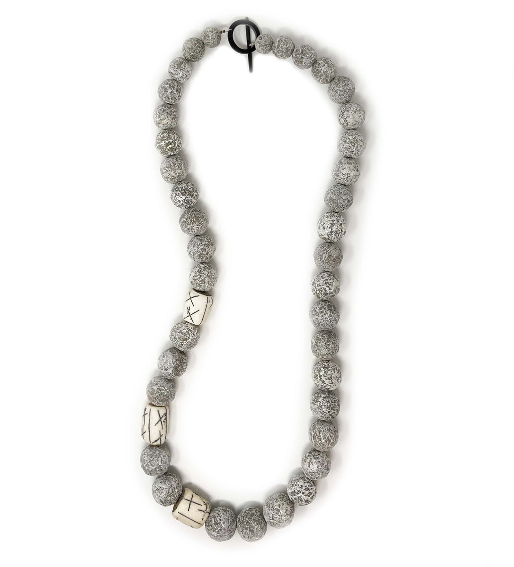 Long Grey Ball Necklace with Vintage Bone Beads